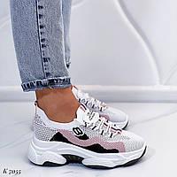 Женские кроссовки белые с розовым текстиль, фото 1