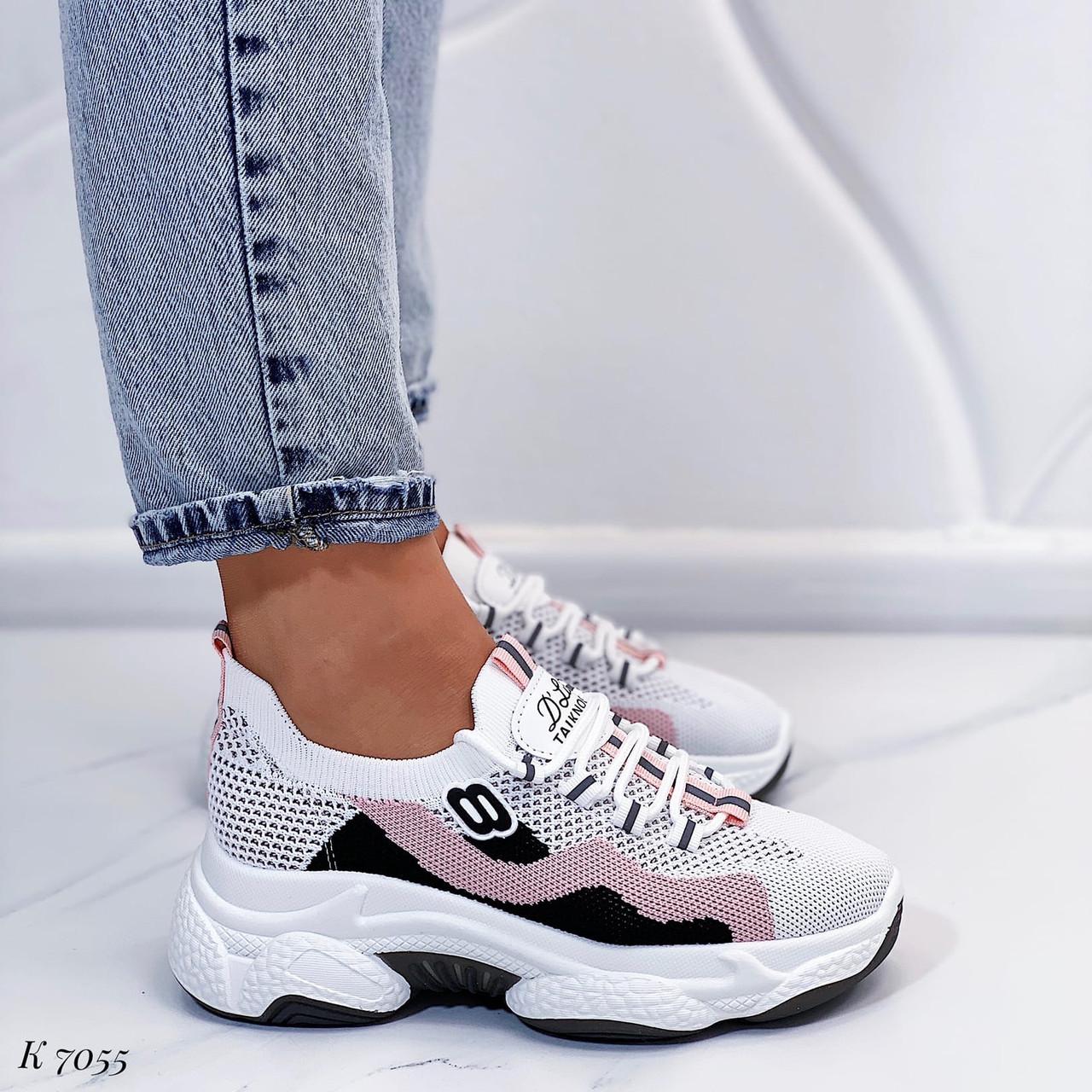 Женские кроссовки белые с розовым текстиль