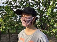 Женская маска защитная с цветочками на резинке, многоразовая медицинская маска, хлопковая, 2-х слойная