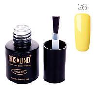 Гель-лак для ногтей маникюра 7мл Rosalind, шеллак, 26 лимонный