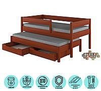 Кровать подростковая с дополнительным спальным местом с ящиками  LukDom Junior 200х90Темный орех