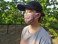 Женская маска защитная многоразовая с цветочками на резинке, медицинская маска, хлопковая, 2-х слойная
