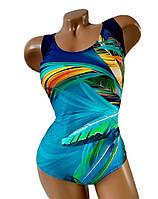 Купальник женский слитный больших размеров 50 - 60 Sofia синий с ярким принтом