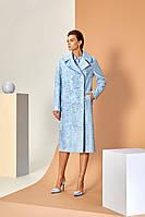 Пальто из свакары  голубого цвета
