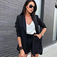 Жіночий костюм двійка піджак шорти чорний