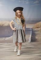 Платье хлопковое с фатиновой юбкой и роскошным бантом нарядное на девочек 98-116