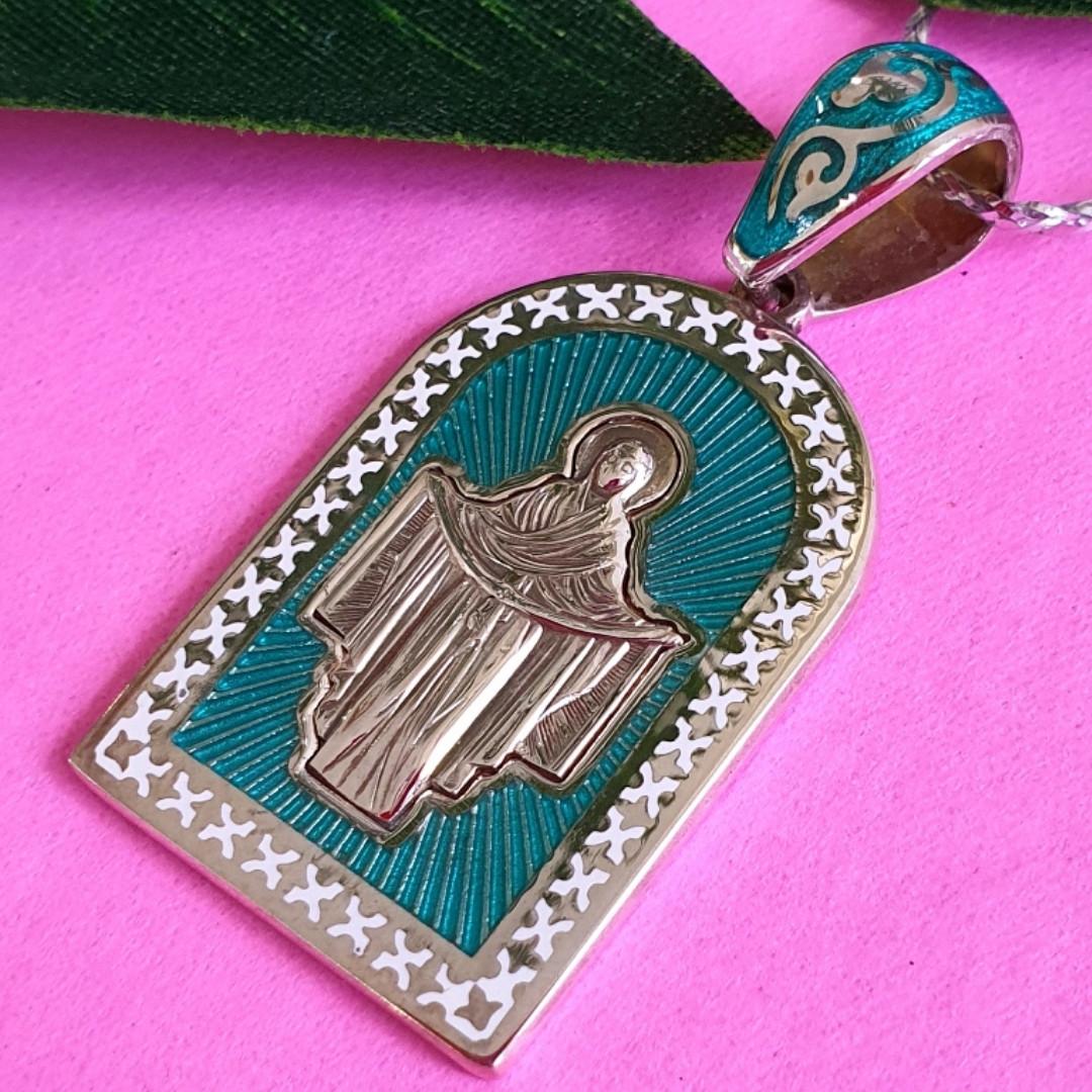 Серебряный кулон Покрова Богородицы - Ладанка серебряная с эмалью Покрова