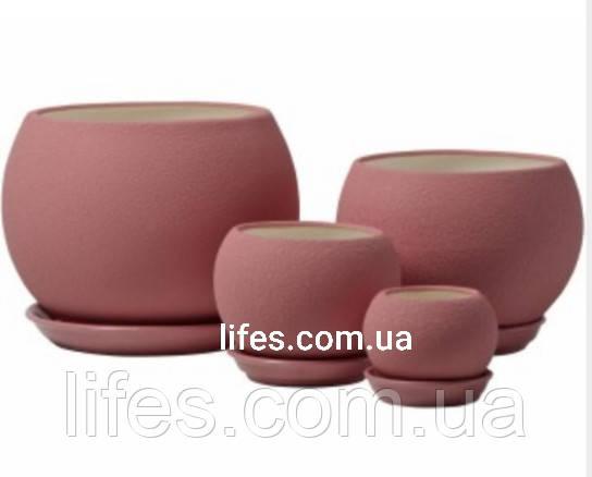 Вазон керамический шар розовый шелк 1.4л