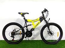 Спортивный велосипед 26 дюймов Аzimut Tornado d 26 дюймов черно-желтый + подарок. Горный велосипед азимут.