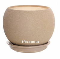 Вазон керамический шар капучино шелк 1.4л