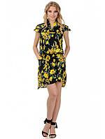 Платье женское черное с желтыми розами