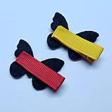 """Набір дитячих заколок для волосся """"Метелики"""" різнокольорові, 2шт, фото 3"""