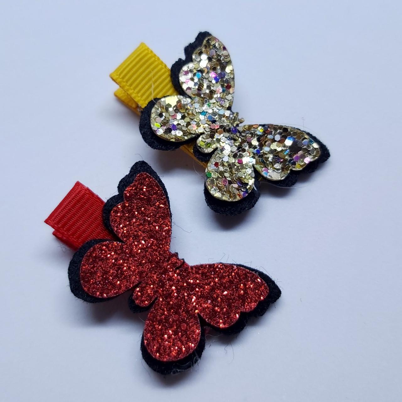 """Набір дитячих заколок для волосся """"Метелики"""" різнокольорові, 2шт"""