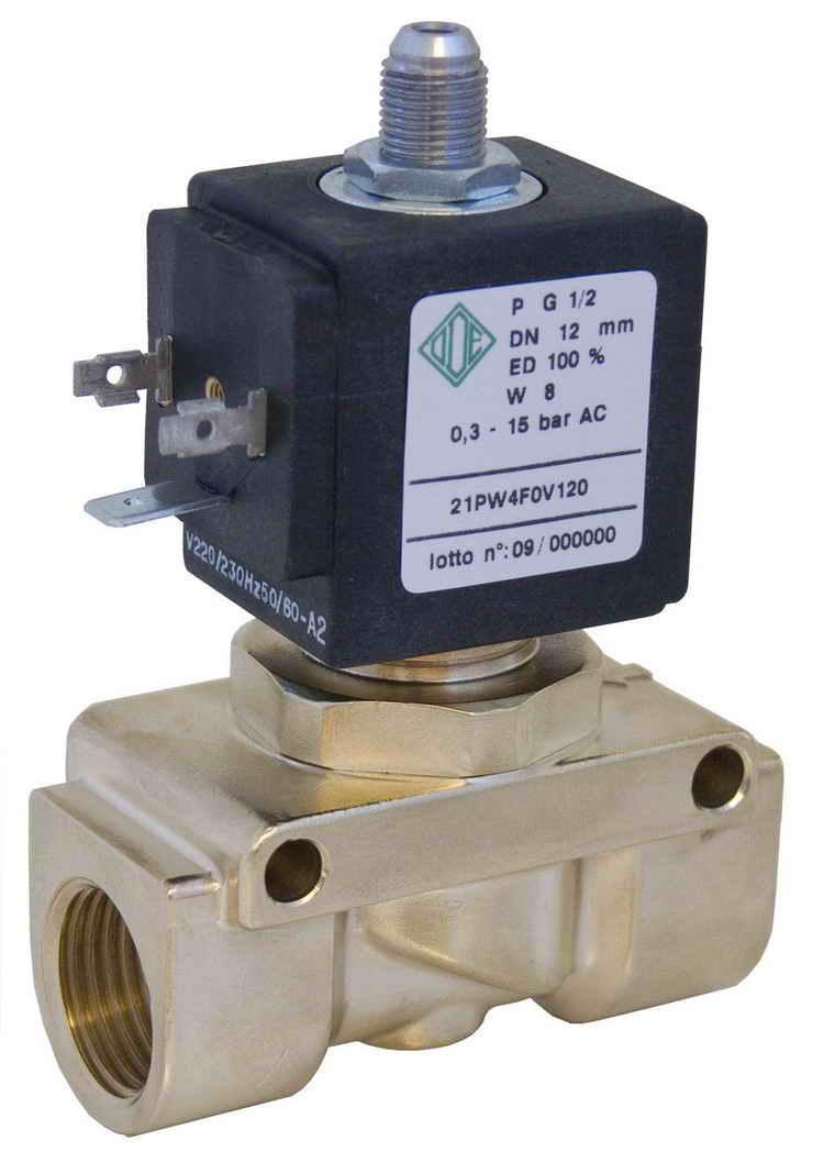 Электромагнитный клапан 21PW4F0V120, 2/2 ход. Нормально открытый для воздушного компрессора, G1/2
