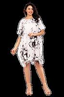 Пляжное легкое платье накидка из вискозы с цветочным принтом 383S-1 белое