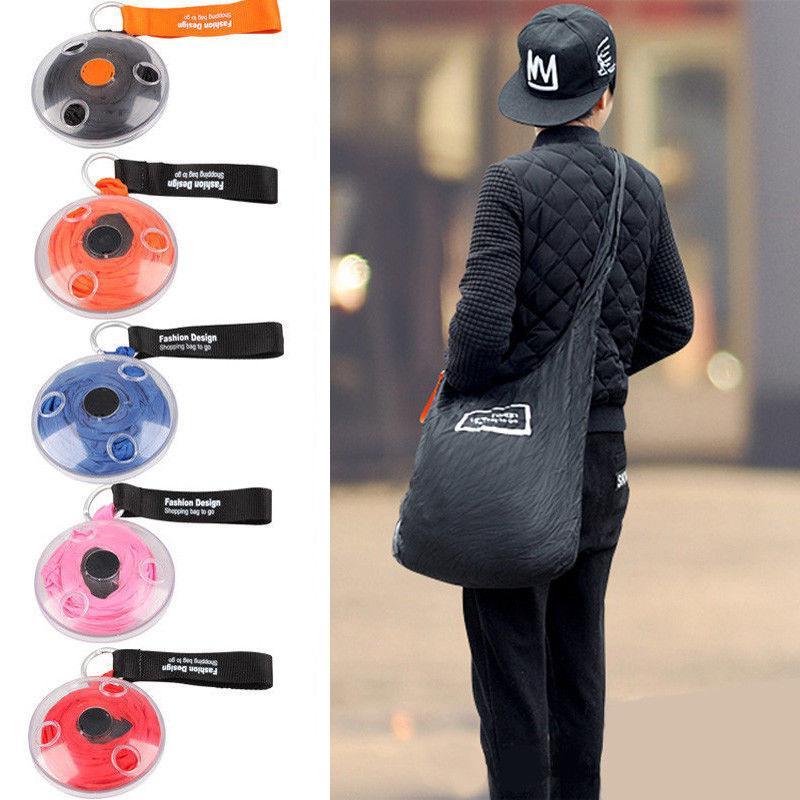 Складана компактна сумка-шоппер SUNROZ Roll Up Bag Чорний