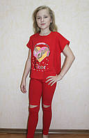 Летний костюм для девочки футболка и штаны красный 36-40р.