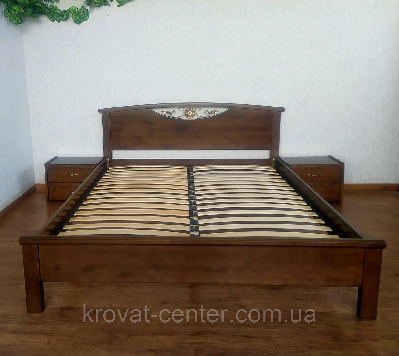 """Двуспальная кровать из массива дерева """"Фантазия"""" с тумбочками"""