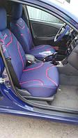 Чехлы на передние сидения синие MILEX Classic  комплект с оплеткой на руль и накладками на ремни