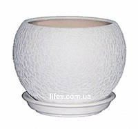 Вазон керамический шар белый шелк 1.4л