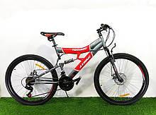 Спортивный велосипед 26 дюймов Аzimut Tornado d 26 дюймов серо-красный+ подарок. Горный велосипед азимут.