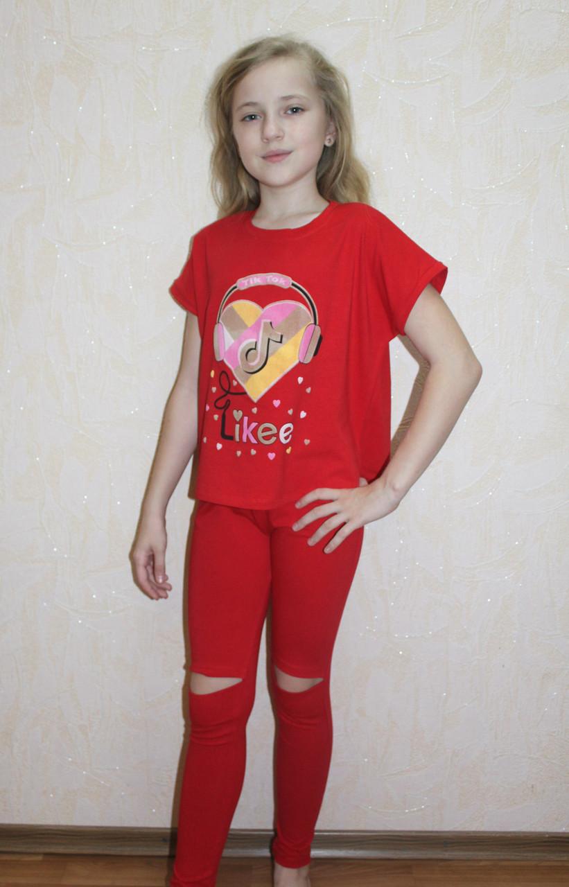 Літній костюм для дівчинки футболка і штани червоний 36-40р.