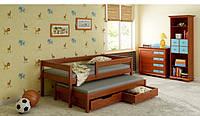 Детская кровать трансформер с ящиками  LukDom Junior 160х80Темный орех