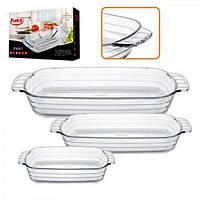 Огнеупорная посуда (термостекло) набор кастрюль стеклянных 3шт Stenson Firex (236710)