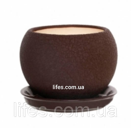 Вазон керамический шар шоколад шелк 1.4л