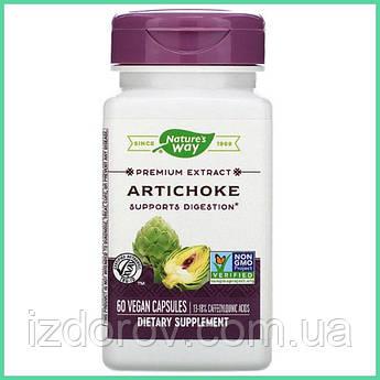 Nature's Way, Артишок для печени, желчного пузыря, Artichoke Leaf Extract, 300 мг, 60 растительных капсул. США