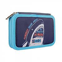 Школьный твердый пенал на два отделения для мальчика с акулой SMART двойной HP-01 Jawe Some Синий (532814)