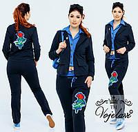 Женский стильный батальный спортивный костюм в деловом стиле с нашивкой Розы(р.48-54). Арт-2168/42