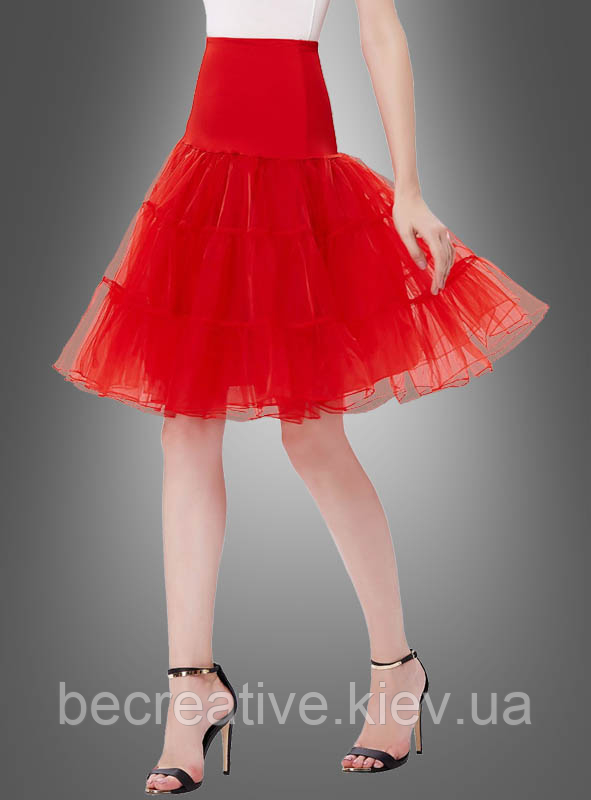 Красная нижняя юбка длиной до колена