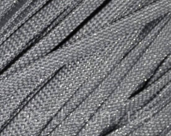 Шнур плоский чехол 8мм (100м) темно серый с серебром