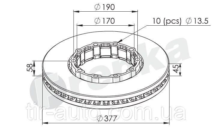 Диск тормозной SAF SKRB 9019 INTEGRAL 19,5 ( 377x57.5 мм ) ( FRENKA ) 98.014.002.035-FR