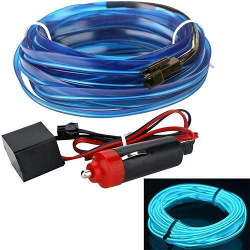 Гибкий холодный неон, неоновая подсветка салона авто 5м, голубой плоский