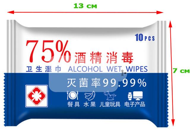 Салфетки спиртовые 75% гигиенические одноразовые