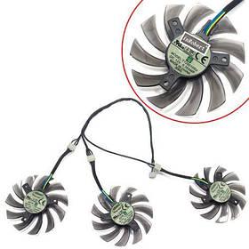 Вентилятори 3шт 75мм 12В 4пин T128010SU GTX 980 1060 1070 1080, оригінал