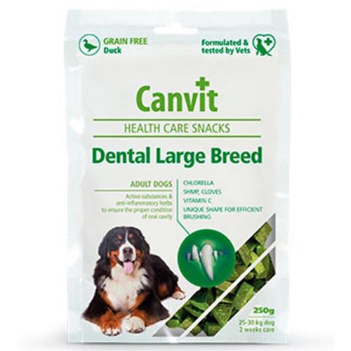Полувлажное лакомство Canvit Dental LB для удаления формирования зубного налета для собак крупных пород, 250 г