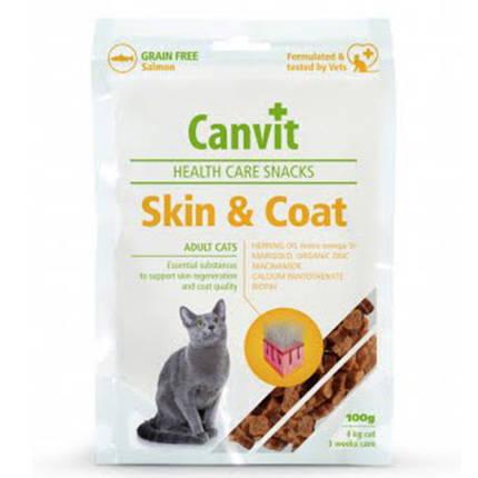 Полувлажное лакомство Canvit Skin and Coat для красоты, здоровья и блеска шерсти для кошек, 100 г, фото 2