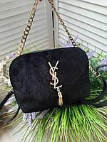 Женская сумка клатч YSL замш и эко-кожа в черном цвете