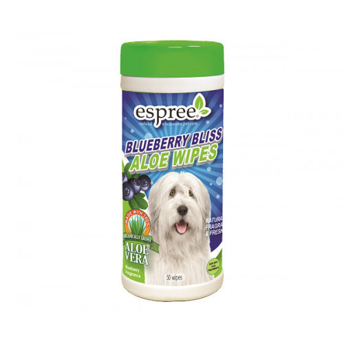 Влажные салфетки Espree Blueberry Bliss Wipes для собак с алоэ вера и экстрактом черники, 50 шт