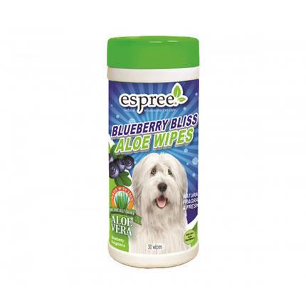 Влажные салфетки Espree Blueberry Bliss Wipes для собак с алоэ вера и экстрактом черники, 50 шт, фото 2