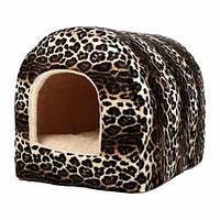 Лежак Теремок Домик-арка меховой для собак и кошек, 37×43×35 см