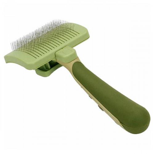 Пуходерка-сликер Safari Self-Cleaning Slicker Brush с самоочисткой, для собак и котов, большая, 11.5х8.5 см