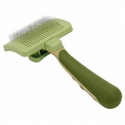 Пуходерка-сликер Safari Self-Cleaning Slicker Brush с самоочисткой, для собак и котов, большая, 11.5х8.5 см, фото 2