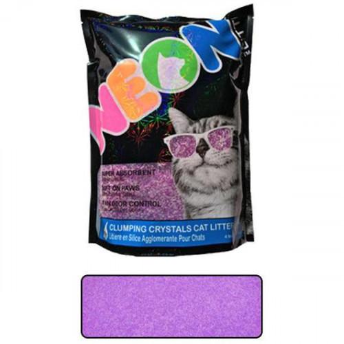Наполнитель Neon Litter Clump комкующийся, кварцевый, неоновый, фиолетовый, 1.81 кг