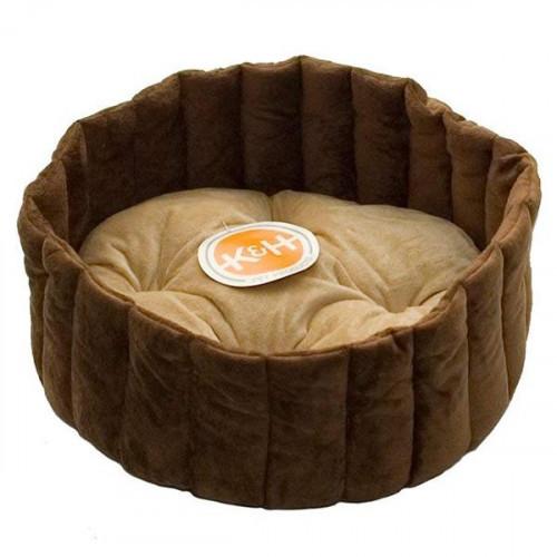 Лежак K&H Lazy Cup мягкий, для собак и котов, желто-коричневый, кофейный, S