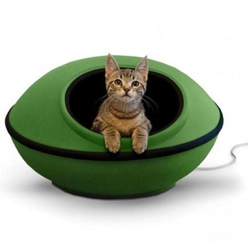 Лежак-домик K&H Thermo-Mod Dream Pod с электроподогревом, для котов, зеленый, черный