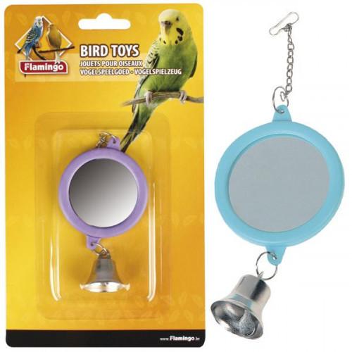 Игрушка Flamingo Mirror Round Bell для попугаев, круглое, зеркало с колокольчиком, 6 см